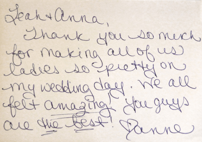 Thanks from Anne for pretty wedding make overs to Salon Tryst